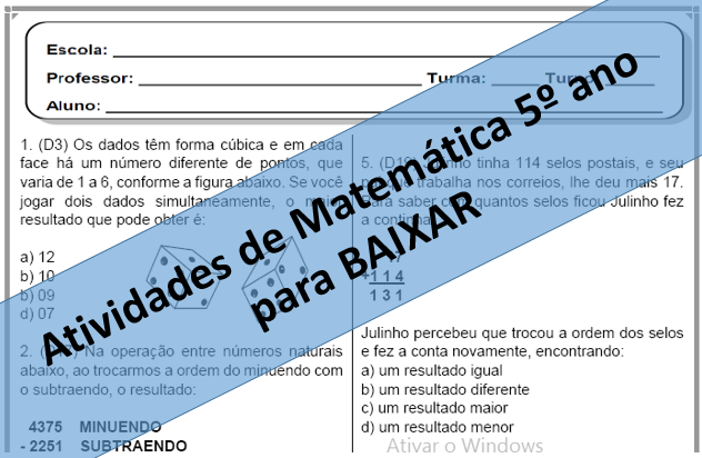 10 Avaliacoes De Matematica Descritores 5º Ano Desafios Matematicos